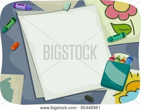 Background Illustration of Pieces of Paper Surrounded by Crayons
