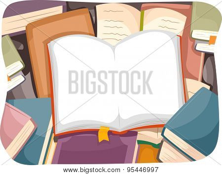 Illustration of an Open Book with a Bookmark Sticking Out from One of its Pages