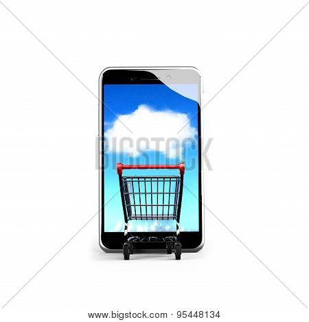 Shopping Cart Going Into Smart Phone With White Cloud Touchscreen