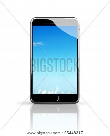 Smart Phone With Blue Sky Touch Screen