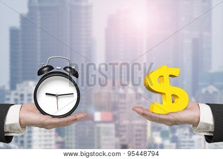 Dollar Sign And Alarm Clock With Two Hands
