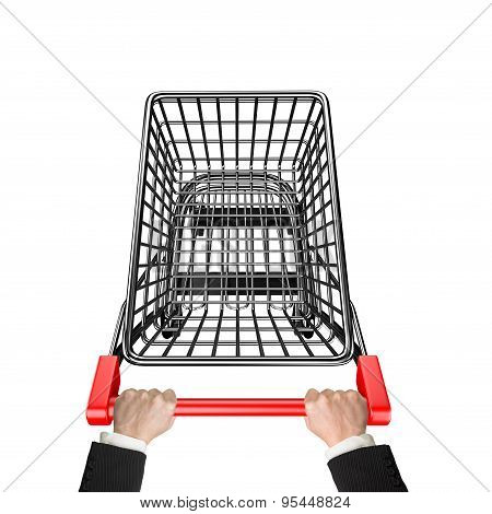Hands Pushing 3D Empty Shopping Cart High Angle View