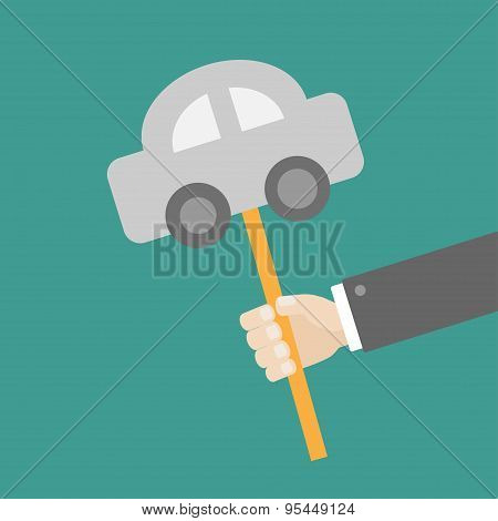 Businessman Hand Holding Paper Car On The Stick Flat Design