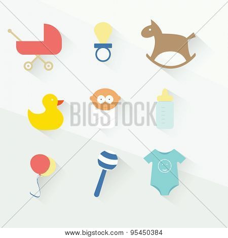 baby toys icon set. flat design
