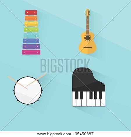 musical instruments set. flat design