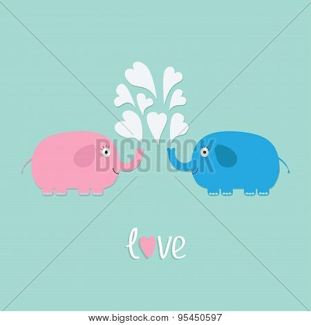 Pink And Blue Elephants With Heart Fountain Love Card Flat Design