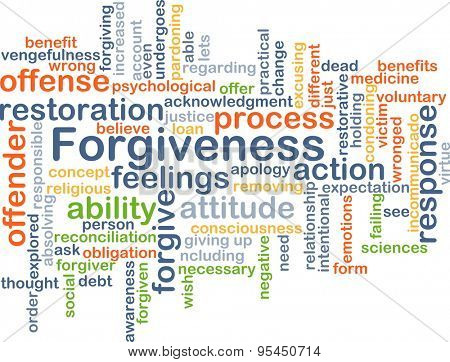 Background concept wordcloud illustration of forgiveness
