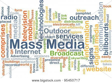 Background concept wordcloud illustration of mass media