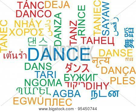 Background concept wordcloud multilanguage international many language illustration of dance