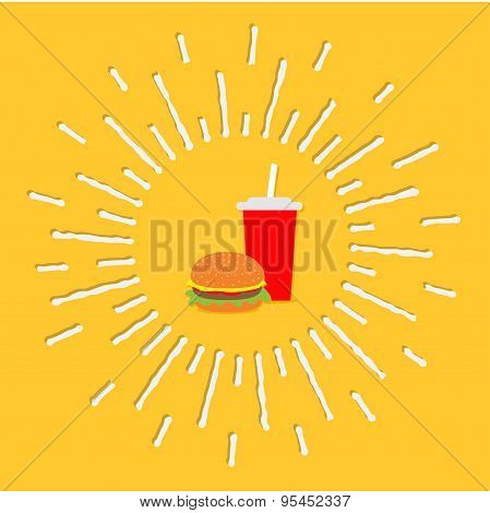 Hamburger And Soda With Straw. Cinema Icon In Flat Design Style. Shining Effect Dash Line Circle