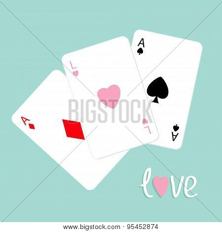 Poker Playing Card Combination With Ace Of Spade, Diamond And Heart Sign Love Background Flat Design