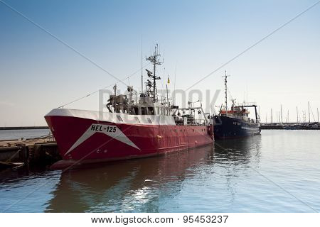 HEL, POLAND - JULY 4: ships at berth in the port on the waterfront on July 4, 2015 Hel, Poland