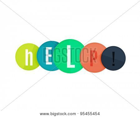 Help word on circles, modern geometric banner design, typography. Web button or message for online web site, presentation or application