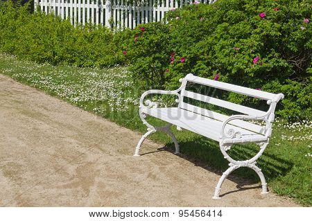 Decorative White Bench In Garden, Bush And Flowers On Background