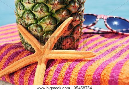 closeup of a starfish, a pineapple and a pair of sunglasses on a colorful beach towel