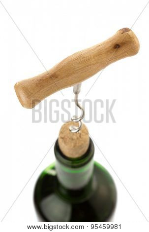 corkscrew and wine bottle isolated on white background