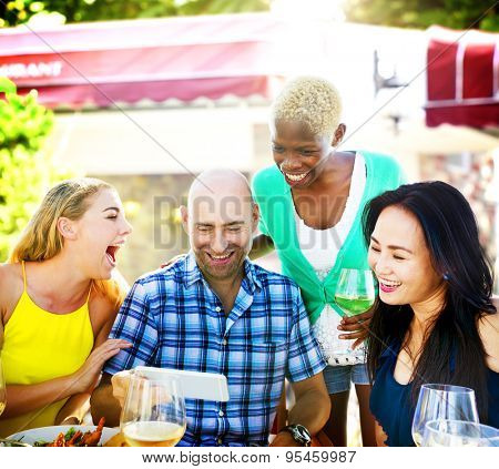 Diverse People Luncheon Outdoors Food Friendship Concept
