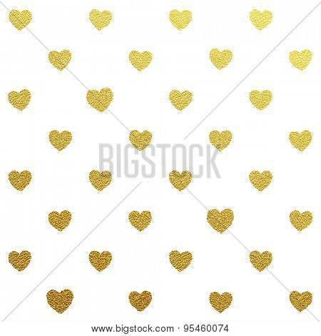Gold glittering seamless pattern of hearts on white background.