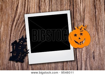 Photo With Halloween Icons Over Wood Background