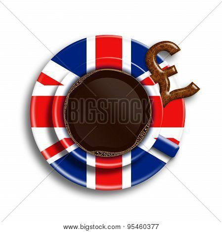 Coffee In Uk Flag Cup With Uk Pound Cookie Isolated Over White