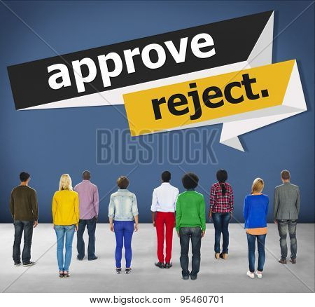 Approve Reject Cancelled Decision Selection Concept