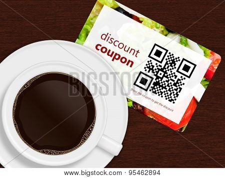 Cup Of Coffee With Discount Coupon