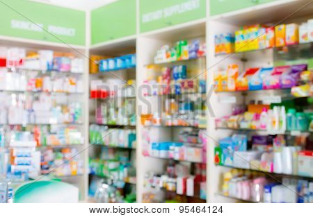 Blured, Interior Of Drugstore