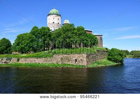 VYBORG, LENINGRAD OBLAST, RUSSIA - JUNE 6, 2015: People on the tower of St. Olav of Vyborg Castle. The castle was founded in 1293