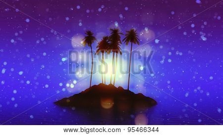 3D render of a palm tree island against a moonlit sky