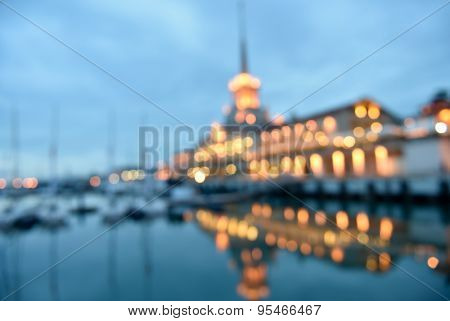 Defocused image of the night view to the seaport of Sochi, Russia