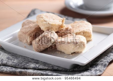 Turkish traditional delight Pismaniye on a plate closeup