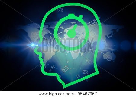 Stopwatch in head against futuristic technology interface