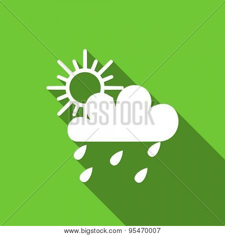 rain flat icon waether forecast sign original modern design flat icon for web and mobile app with long shadow