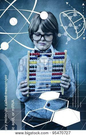 Science graphic against portrait of cute little boy holding abacus