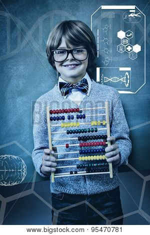Science graphic against boy holding abacus in front of blackboard