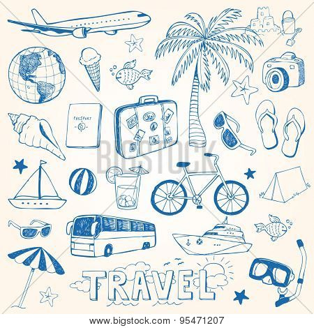 Hand drawn travel doodles vector illustration set