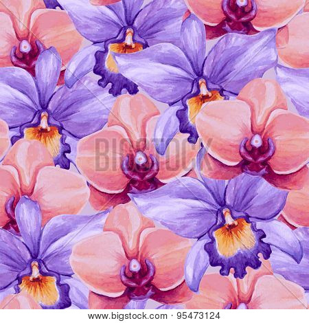 Beautiful watercolor orchids seamless pattern. Vector illustration.