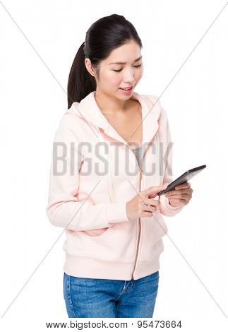 Woman use of the digital tablet