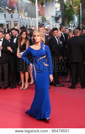 Cannes, France - May 16, 2015: Jane Fonda attend the premiere of 'The Sea Of Trees' during the 68th annual Cannes Film Festival on May 16, 2015 in Cannes, France.