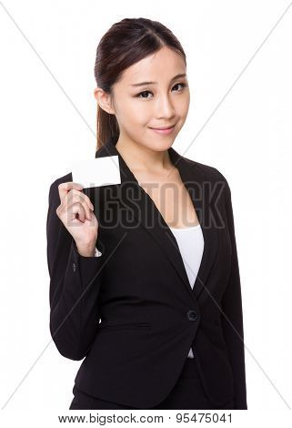 Businesswoman showing a blank namecard