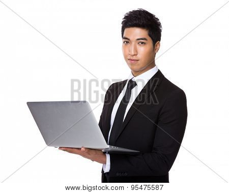 Businessman use of the laptop computer
