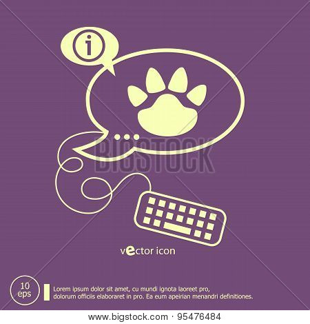 Paw Icon And Keyboard Design Elements