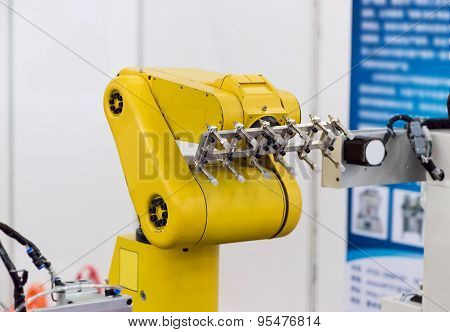 Industrail Robotic Arm working in factory