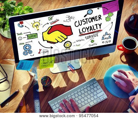 Customer Loyalty Service Support Care Trust Man Concept