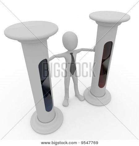 3D Man With Hourglass
