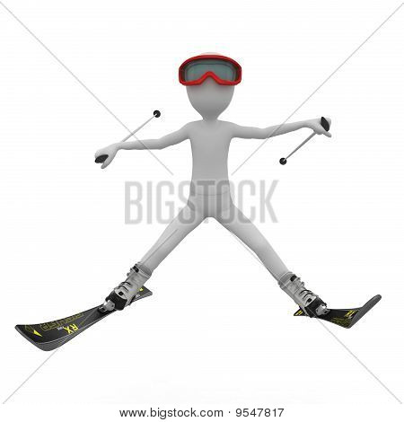 3D Man Skiing Down A Slope