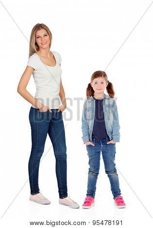 Little girl with her mother looking at camera isolated on a white background