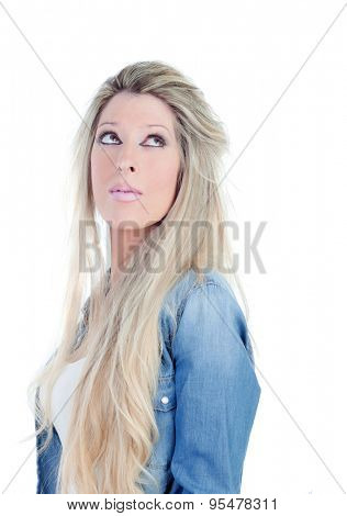 Blonde heavily made-up woman thinking isolated on a white background