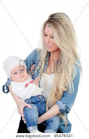 Blonde mother with her nice baby isolated on a white background