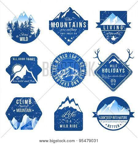Set of 9 adventure labels with different type designs